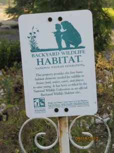The official Backyard Wildlife Habitat sign.